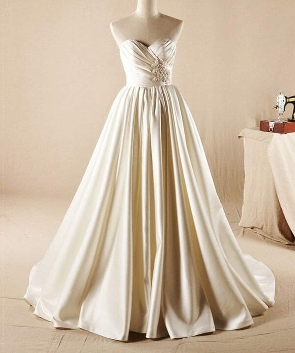 Sweetheart Court Train Lace Up Pleated Beaded Satin Wedding Dress