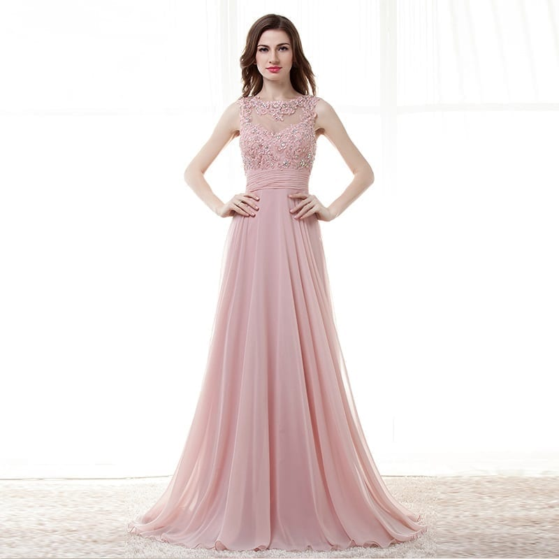 Pink A-line Chiffon Appliques Lace Beaded Open Back Long Bridesmaid Dress
