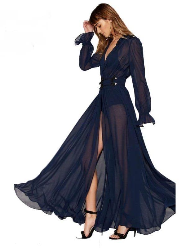 Solid Blue Deep V-neck Long Sleeve Front Split A-line Ruffle Sheer Elegant Maxi Dress