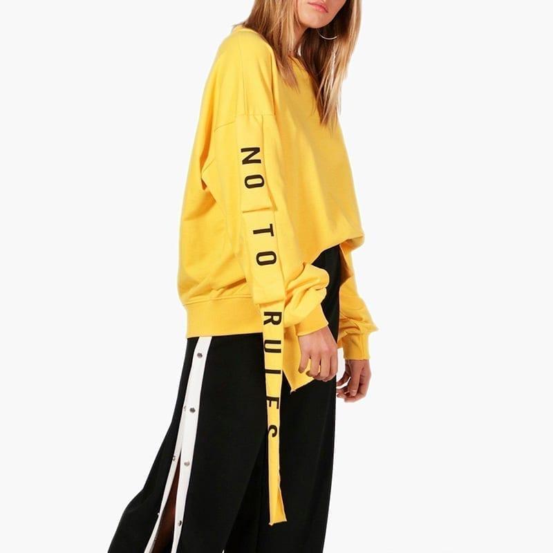 Yellow Full Sleeve Lace Up Split Letter Print Sweatshirt
