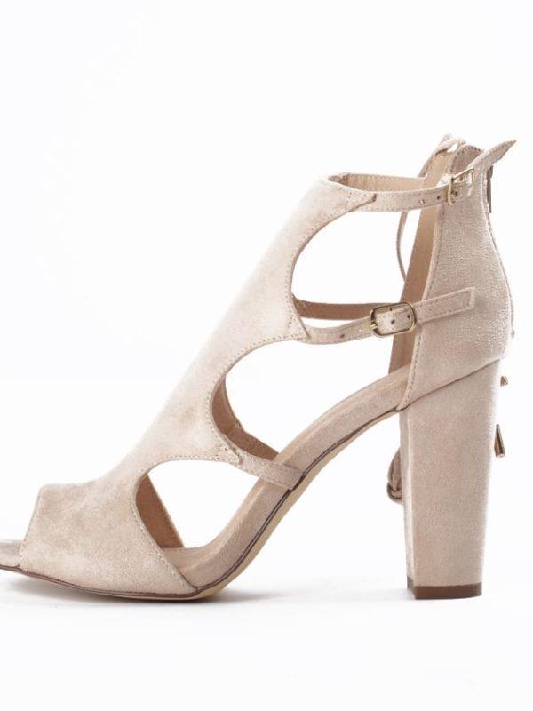 Beige High Heels Pop Toe Sandals Gladiator Shoes