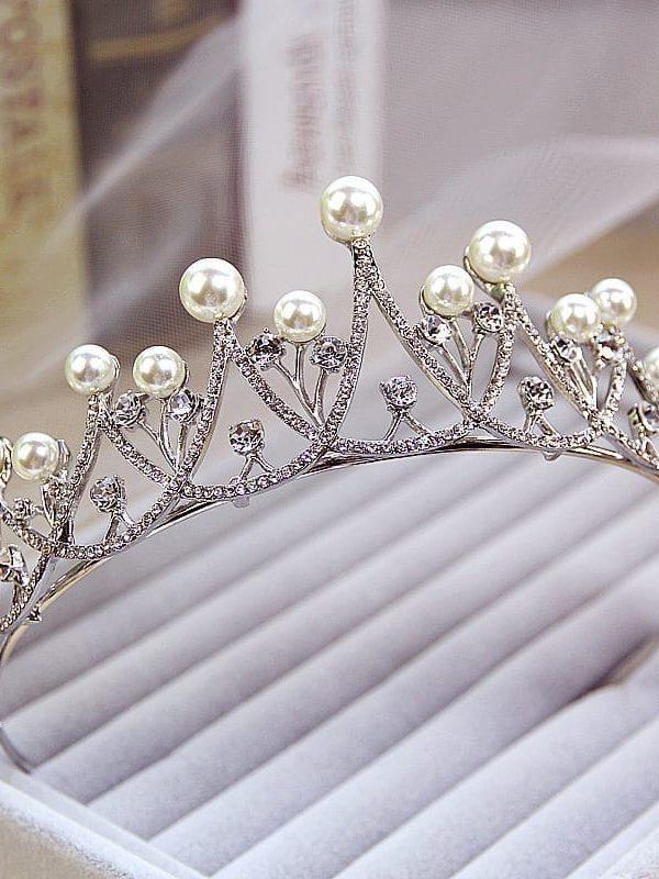 Sparkling Crystal Pearl Tiara Crown Bridal Hair Accessories