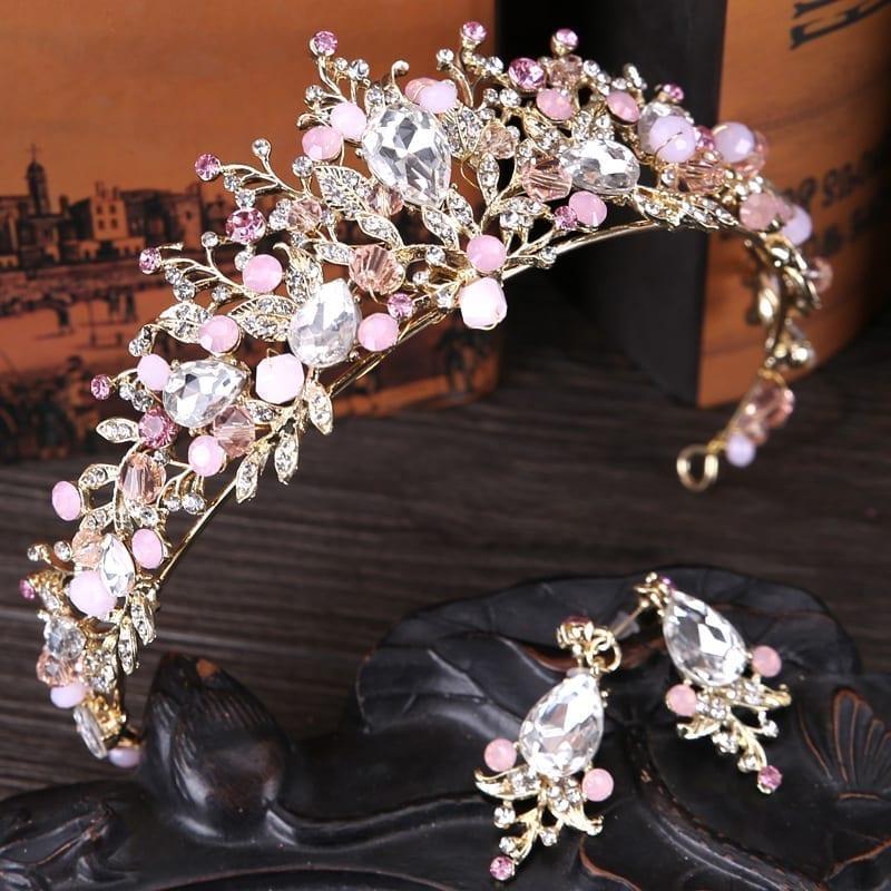 Luxury Pink Gold Pearl Bridal Crowns Tiara With Earrings Wedding Hair Accessories