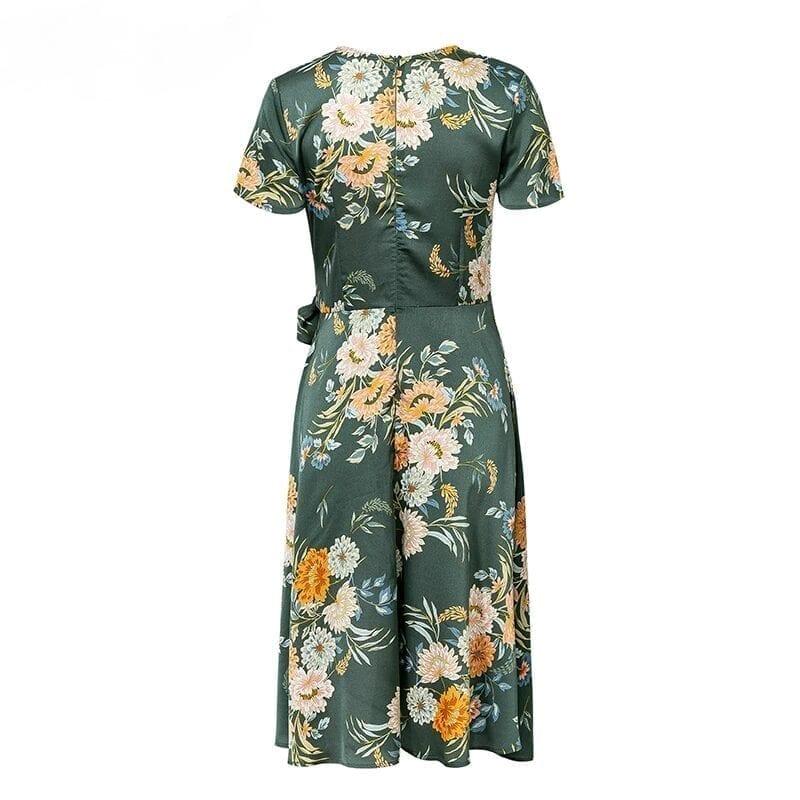 Elegant Floral Print V Neck Wrap Satin Dress