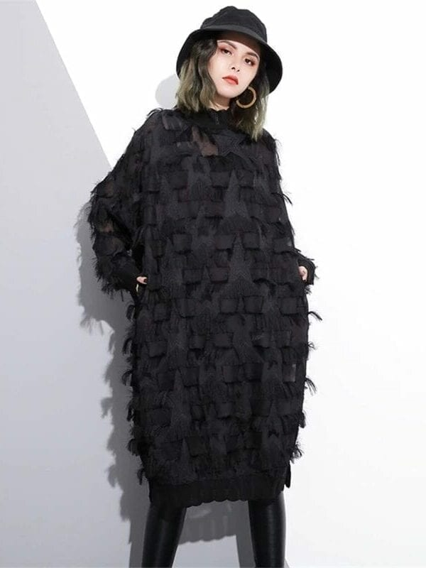 Stand Collar Long Sleeve Black Loose Dress