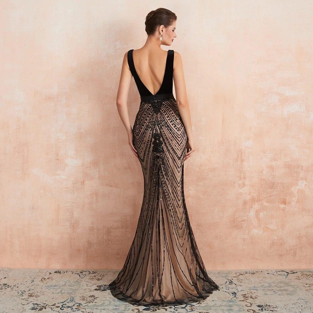 Elegant Black Slit Lace See Through Bodycon Long Evening Dress