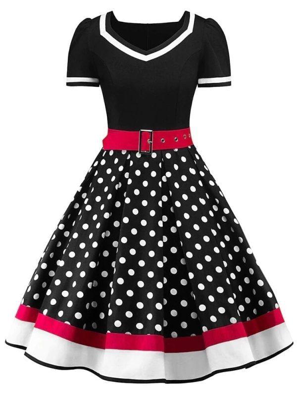Sleeveless Polka Dots Printed Vintage Pin Up Style Flower Girl Dress