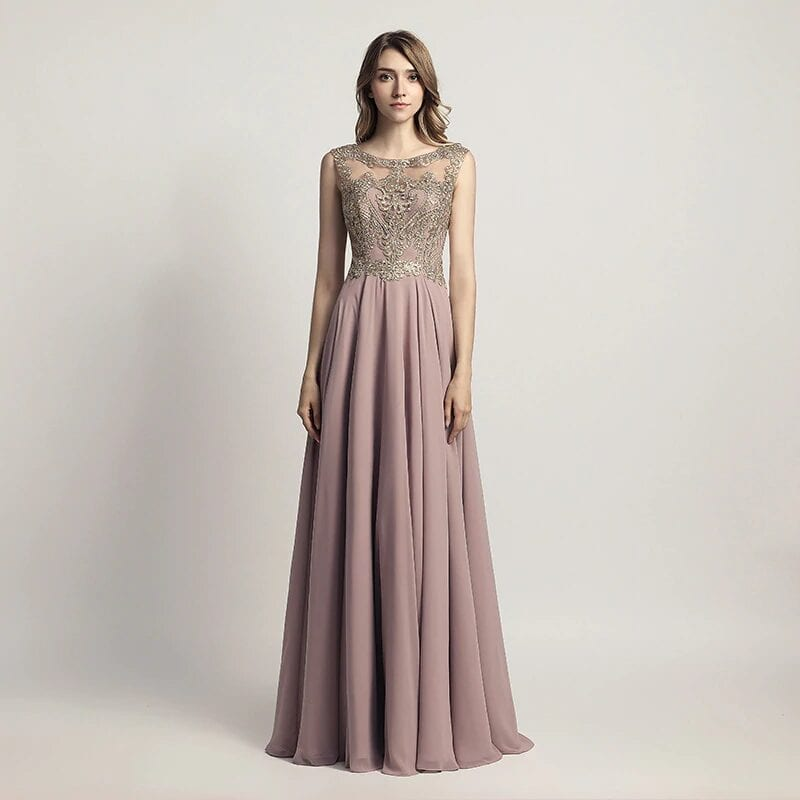 Sleeveless Chiffon Sheer Neck Illusion Back Long Bridesmaid Dress