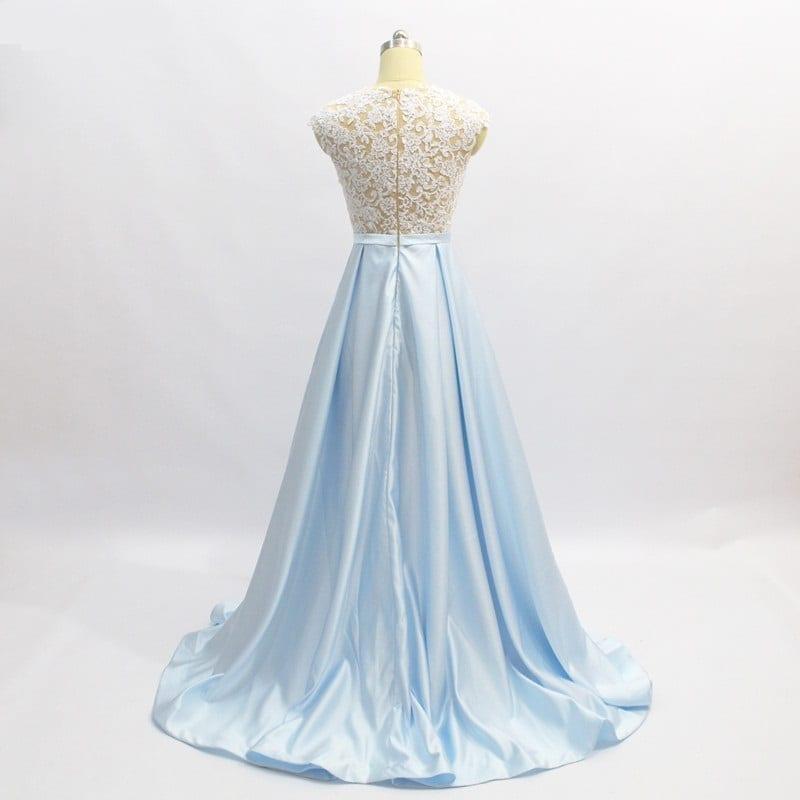 Baby Blue A Line Floor Length Satin Lace Long Evening Dress