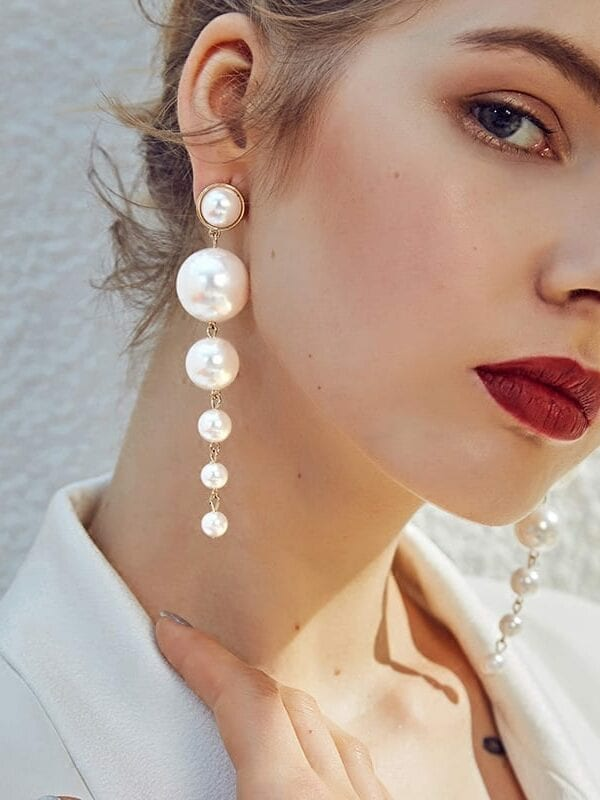 Vintage Gorgeous Statement Multiple Pearls Long Dangle Earrings Jewelry