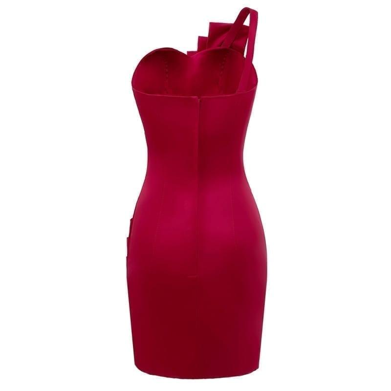 Burgundy One Shoulder Backless Mini Ccocktail Dress
