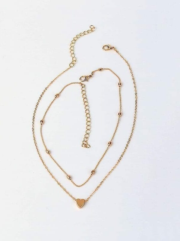 Gold Silver Color Layered Chain Choker Necklace Jewelry