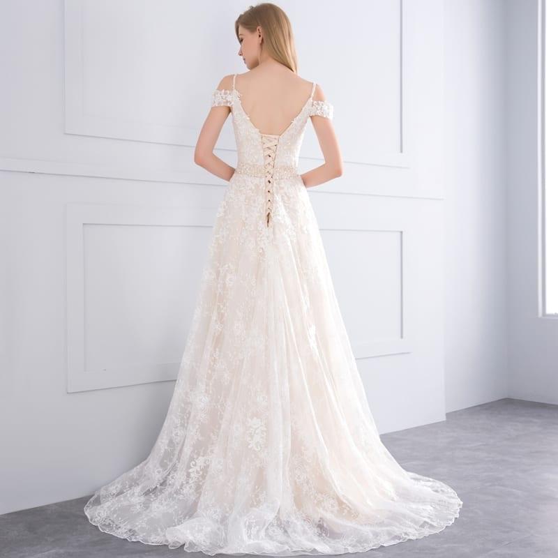 Appliques Lace Crystal A-line Court Train Champagne Wedding Dress