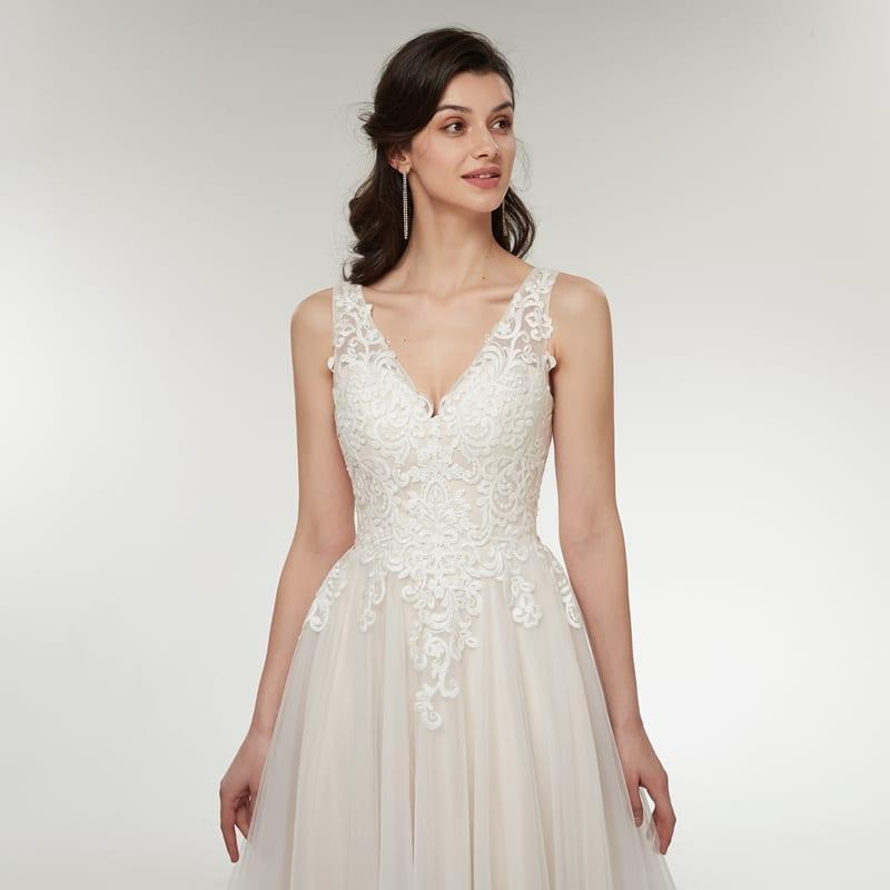 Beautiful Appliques Lace Pearls Backless Princess Beach V-neck Sleeveless Wedding Dress