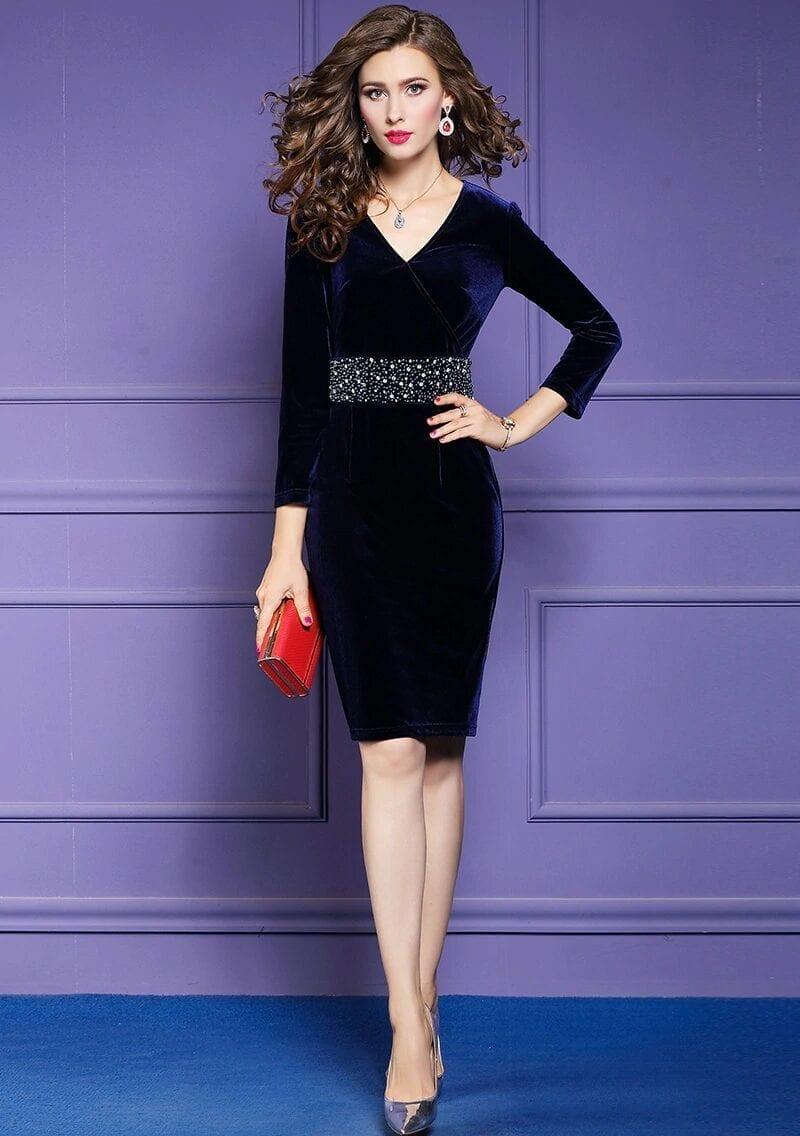 Elegant Vintage V-neck Beading Velvet Dress
