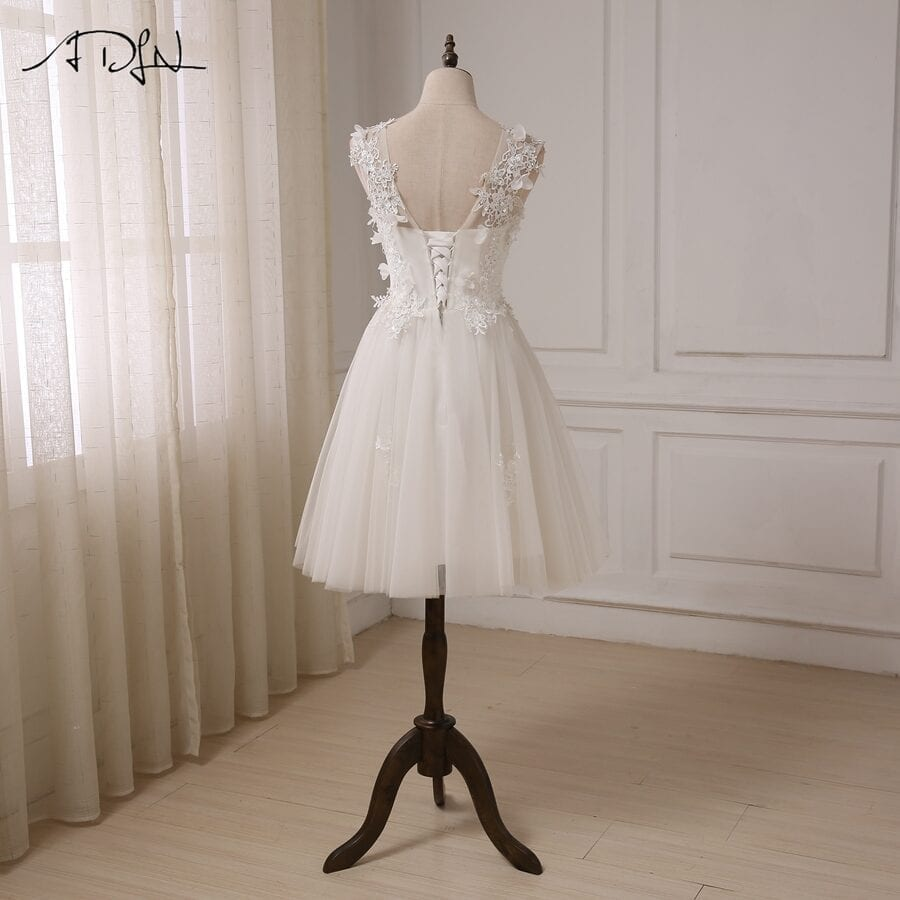 Cap Sleeve Beaded Lace Tulle A-line Short Wedding Dress