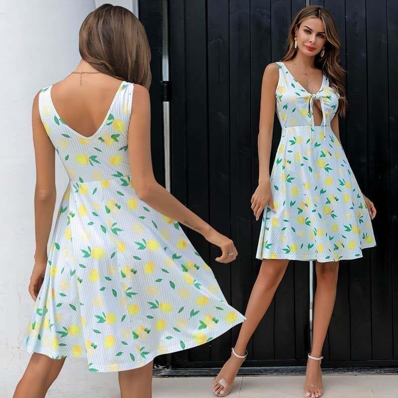 Deep V-neck Lemon Print Striped Bow Lace Up A-line Beach Dress