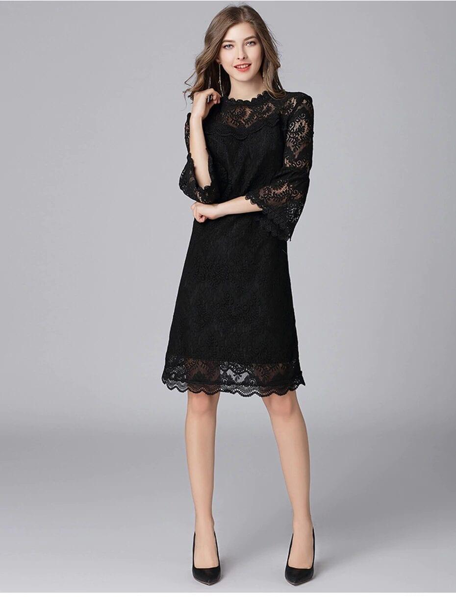 Elegant Black Hollowed Up Lace Flare Sleeve Collar Zipper Fly Dress