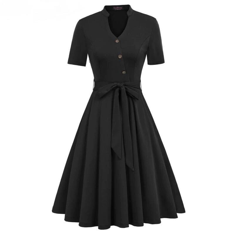 Vintage Short Sleeve Pocket Green Dress