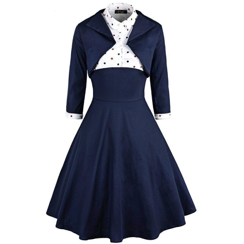 Vintage Polka Dot Two Pieces Dress
