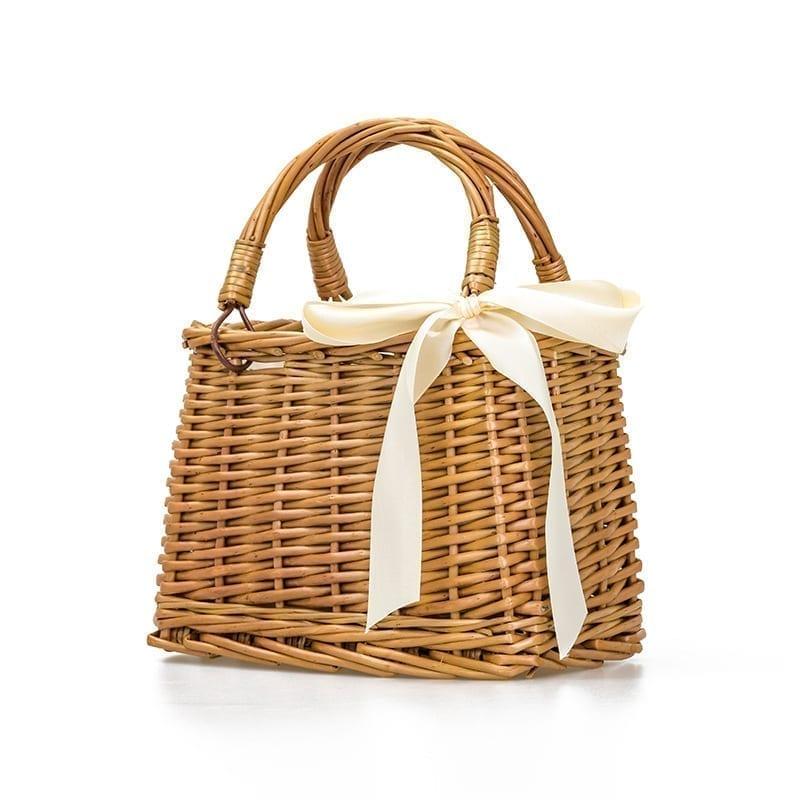 Straw Rattan Beach Basket Handbag