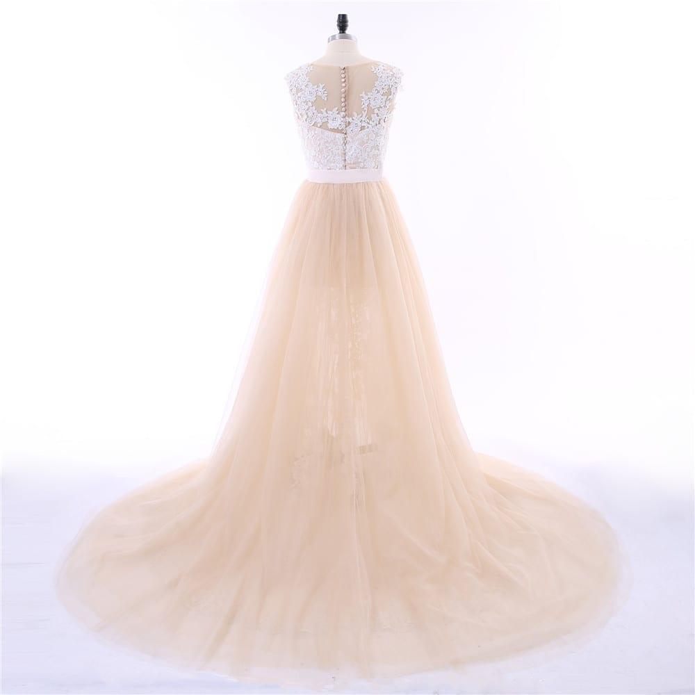 Champagne Cap Sleeves Tulle Applique Lace Detachable Train Mermaid Wedding Dress