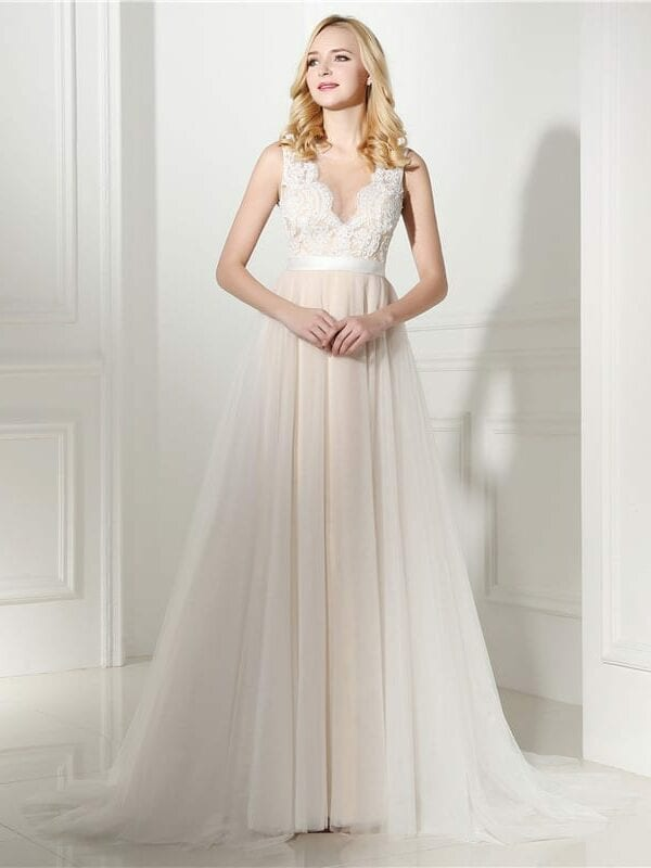 Beige A-line Tulle See Through Lace Pearls Boho Beach Wedding Dress
