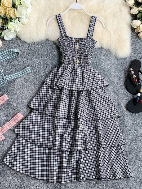 Sleeveless Spaghetti Strap Vintage Plaid Midi Dress