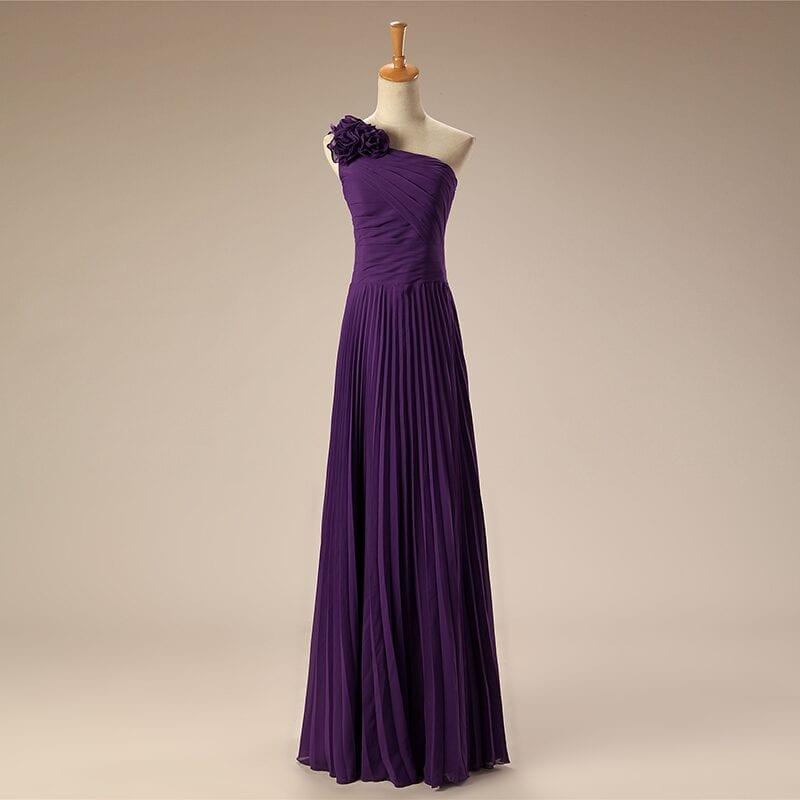 One Shoulder Pleated Red Green Purple Blue Chiffon Long Bridesmaid Dress