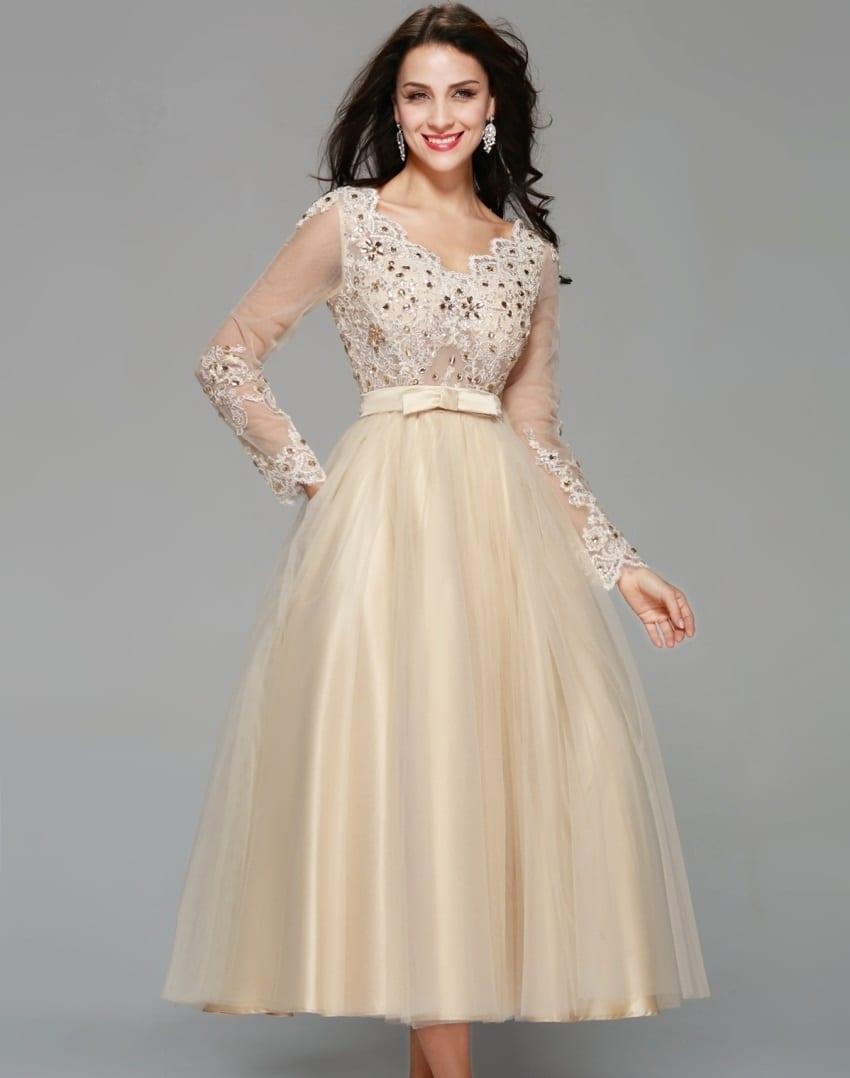 Elegant Champagne Tulle Appliqued Lace Crystal Tea-length Long Sleeve Evening Dress