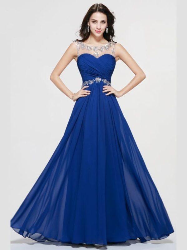 Royal Blue Sheer Neck Chiffon Crystal Beaded Long Prom Dress