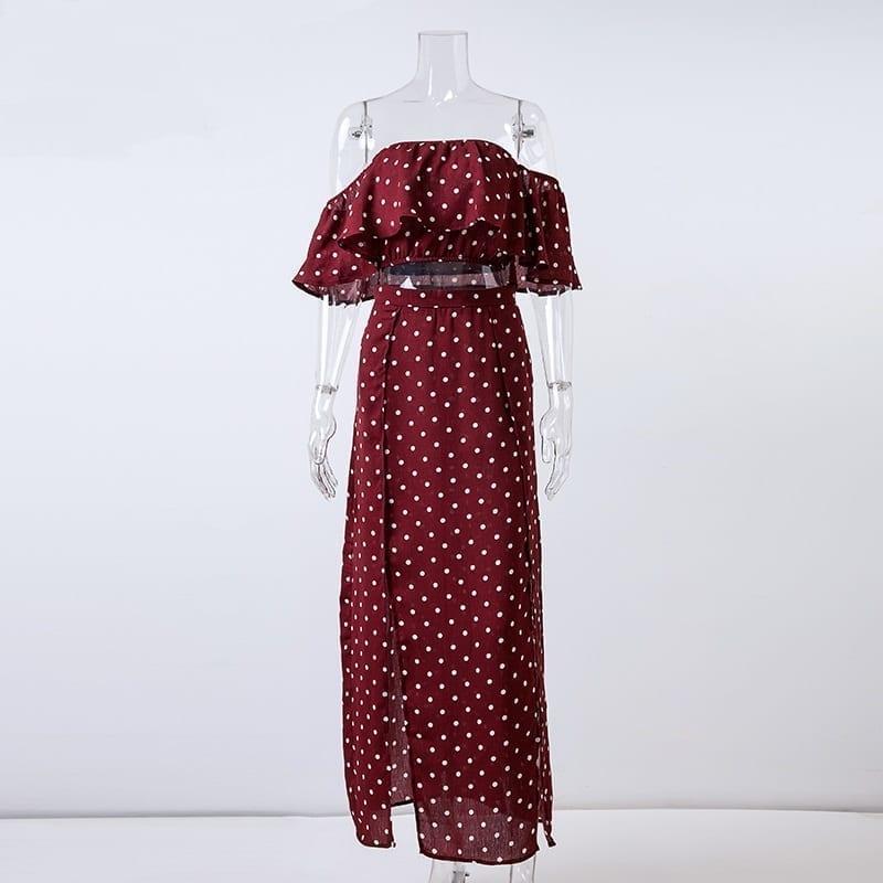 Red Vintage Dot Off Shoulder Chiffon Ruffle Beach Long Dress