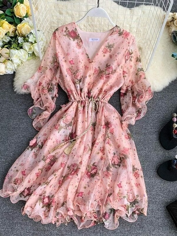Flare Sleeve Printed Pink Beach Dress