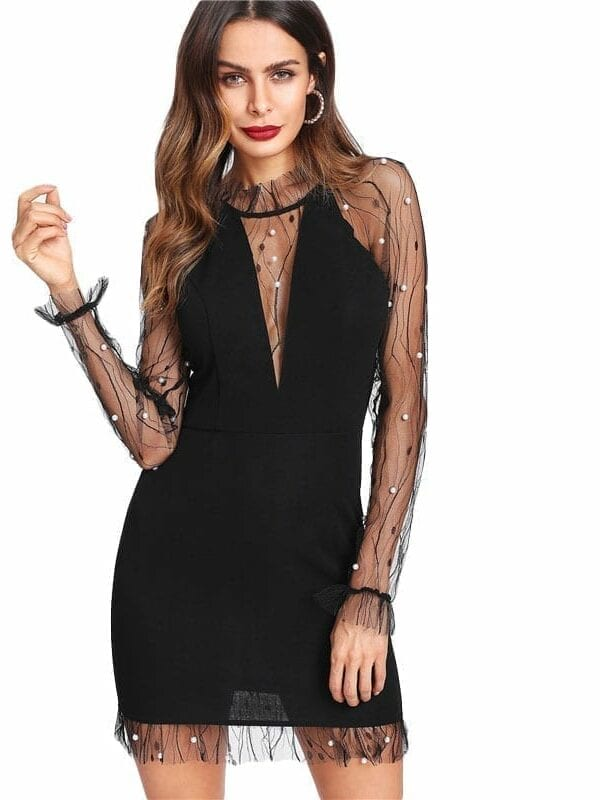 Black Pearl Beading Vine Mesh Panel Ruffle Round Neck Long Sleeve Bodycon Dress