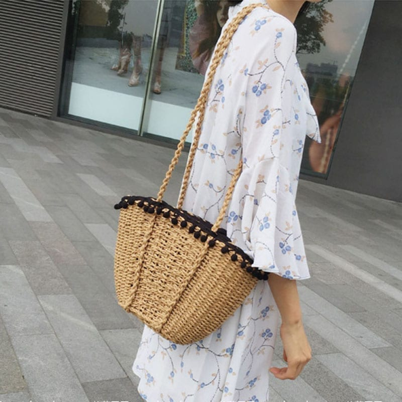 Bohemian Beach Handmade Drawstring Basket Bag