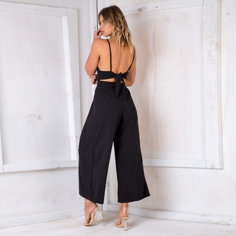 Strap Backless Black Bow Flare Leg Beach Loose Jumpsuit