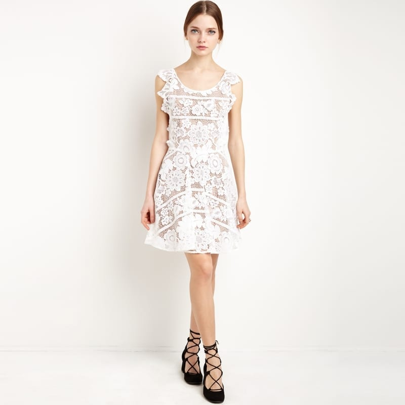 White Backless Criss Cross Lace Crochet Cut Out Elegant Midi Dress