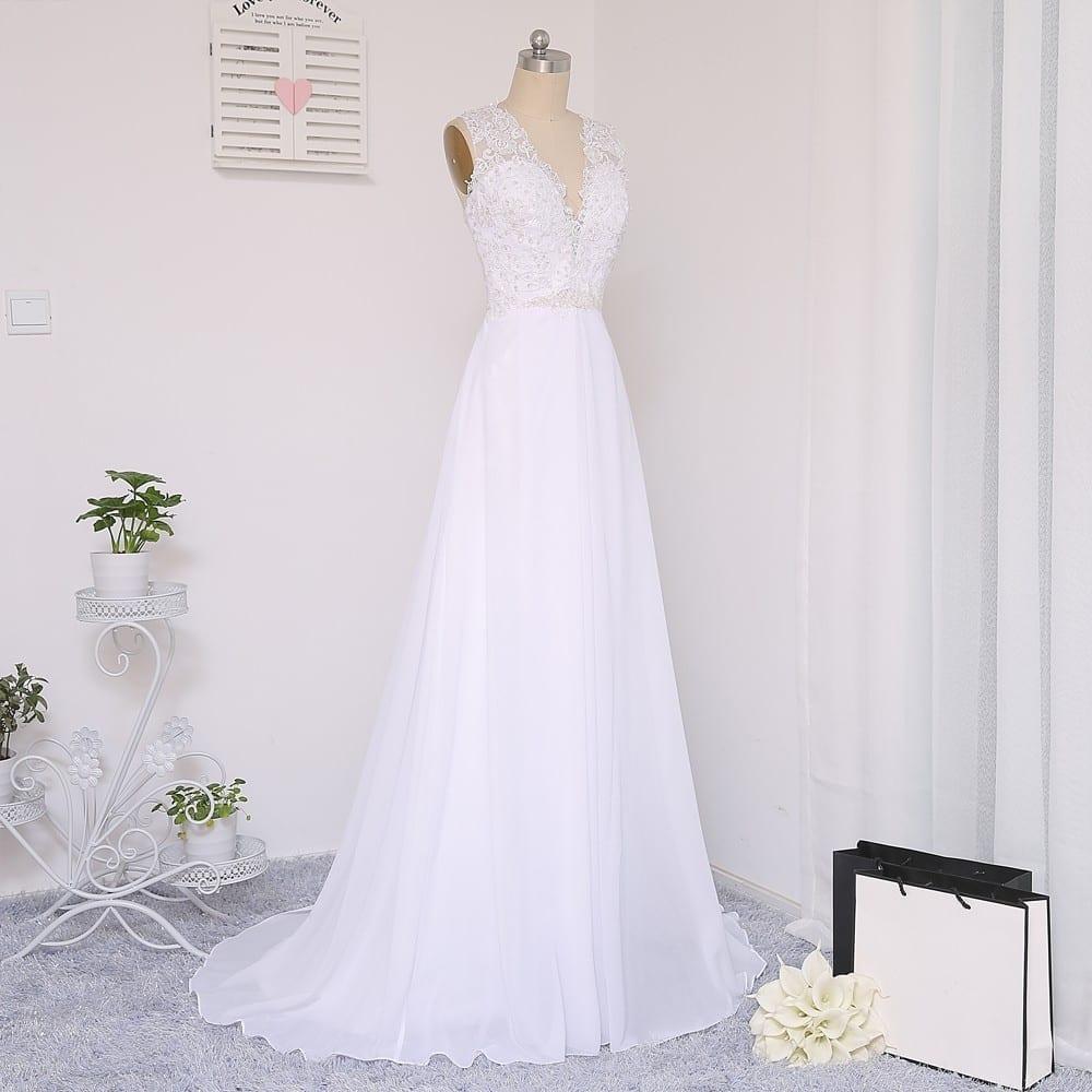 Vintage A-line Deep V-neck Beaded Lace Beach Wedding Dress