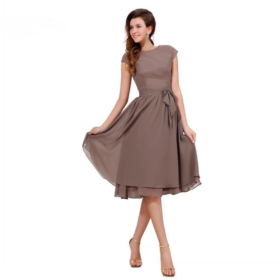 Cap Sleeves Sleeveless Chiffon Short Bridesmaid Dress
