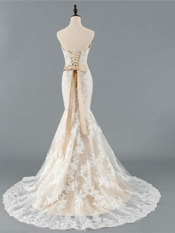 Champagne Sweetheart Tulle Lace Applique Mermaid Boho Wedding Dress
