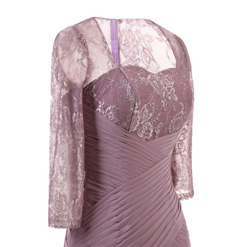 Elegant Lace Pleat Lavender Purple Vintage Long Evening Bridesmaid Dress