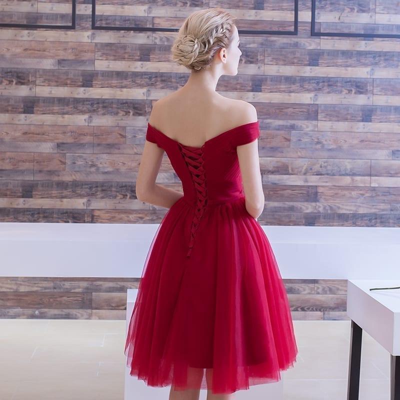 Elegant Off The Shoulder Pleated Short Bridesmaid Dress