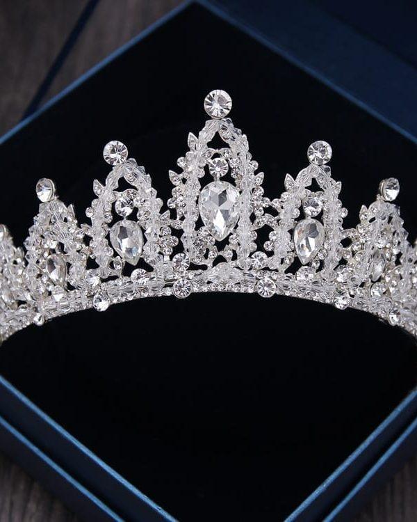 Baroque Rhinestone Silver Crystal Diadem Tiara For Bride Wedding Hair Accessories