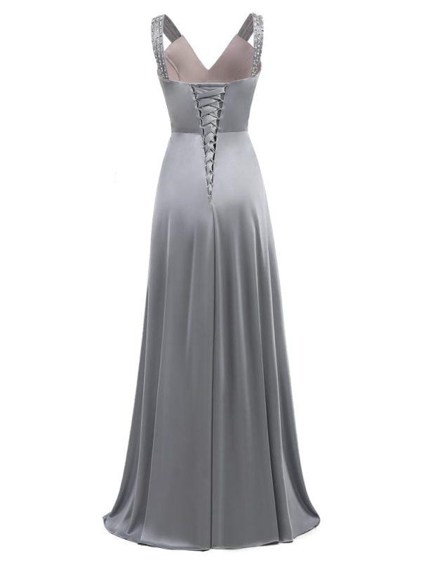 Gray Sleeveless A-line Elegant Wedding Party Long Evening Dress
