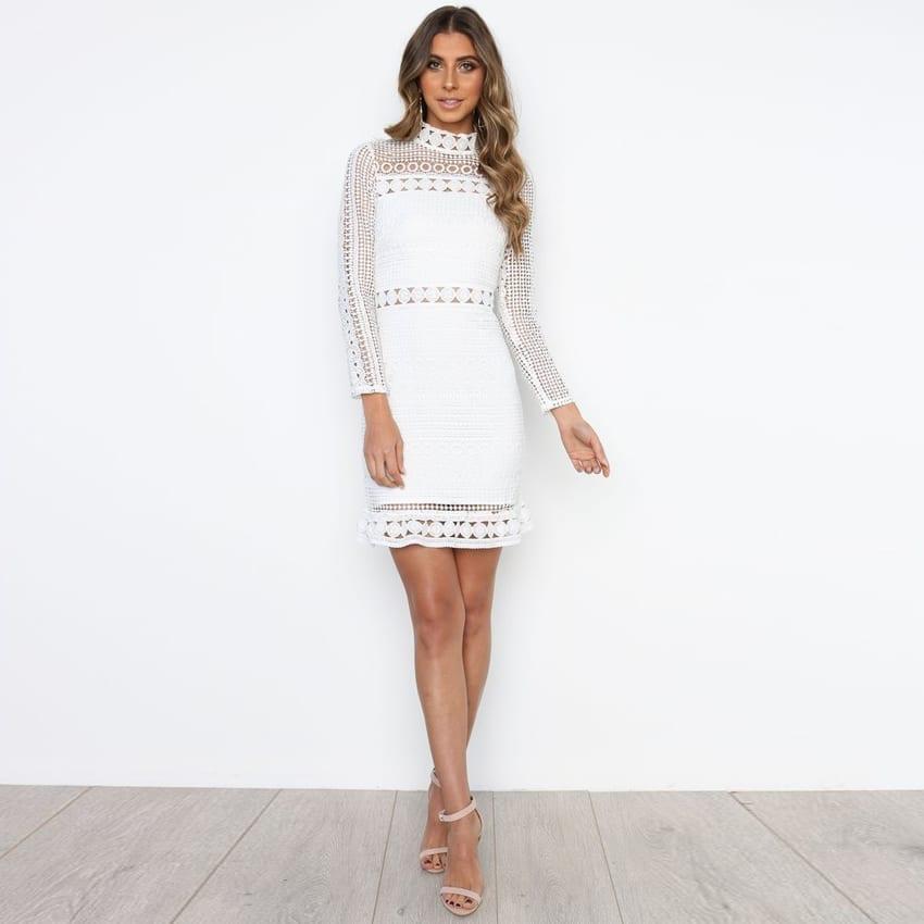 Vintage White Lace O-neck Dress