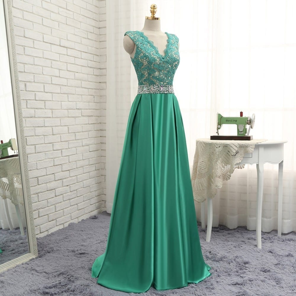 Green A-line V-neck Cap Sleeves Beaded Lace Long Evening Dress