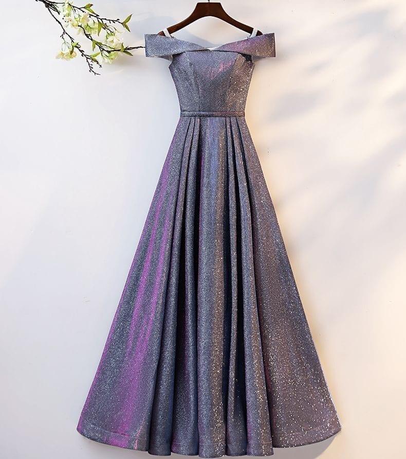 Elegant Off Shoulder A Line Bling Long Evening Dress