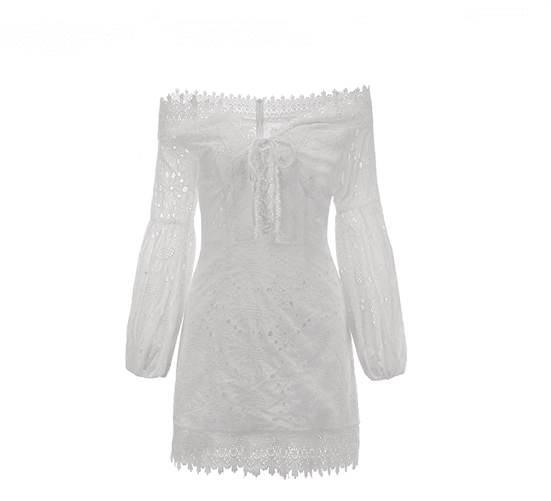 Off Shoulder Embroidery White Dress