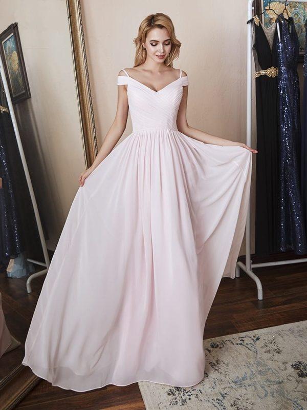 Elegant Cap Sleeve Pink Chiffon Long Bridesmaid Dress