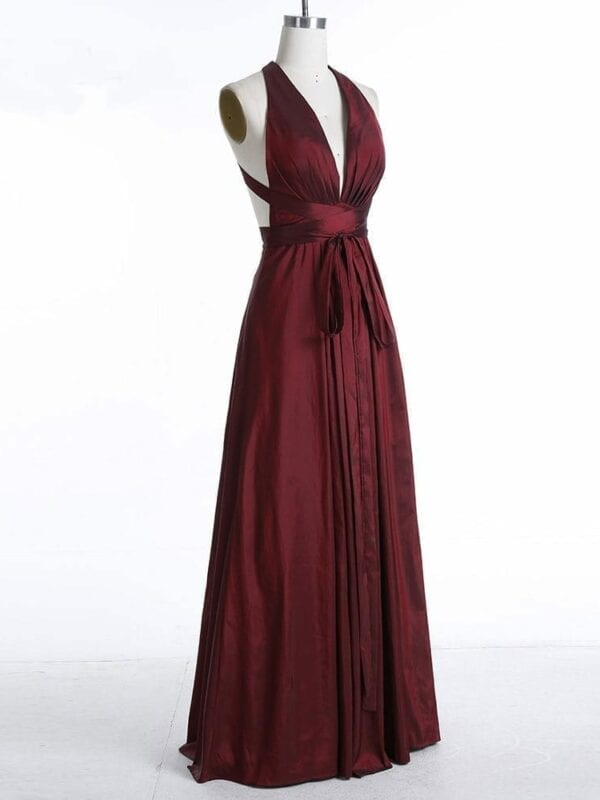 Long Burgundy V Neck Formal Evening Dress